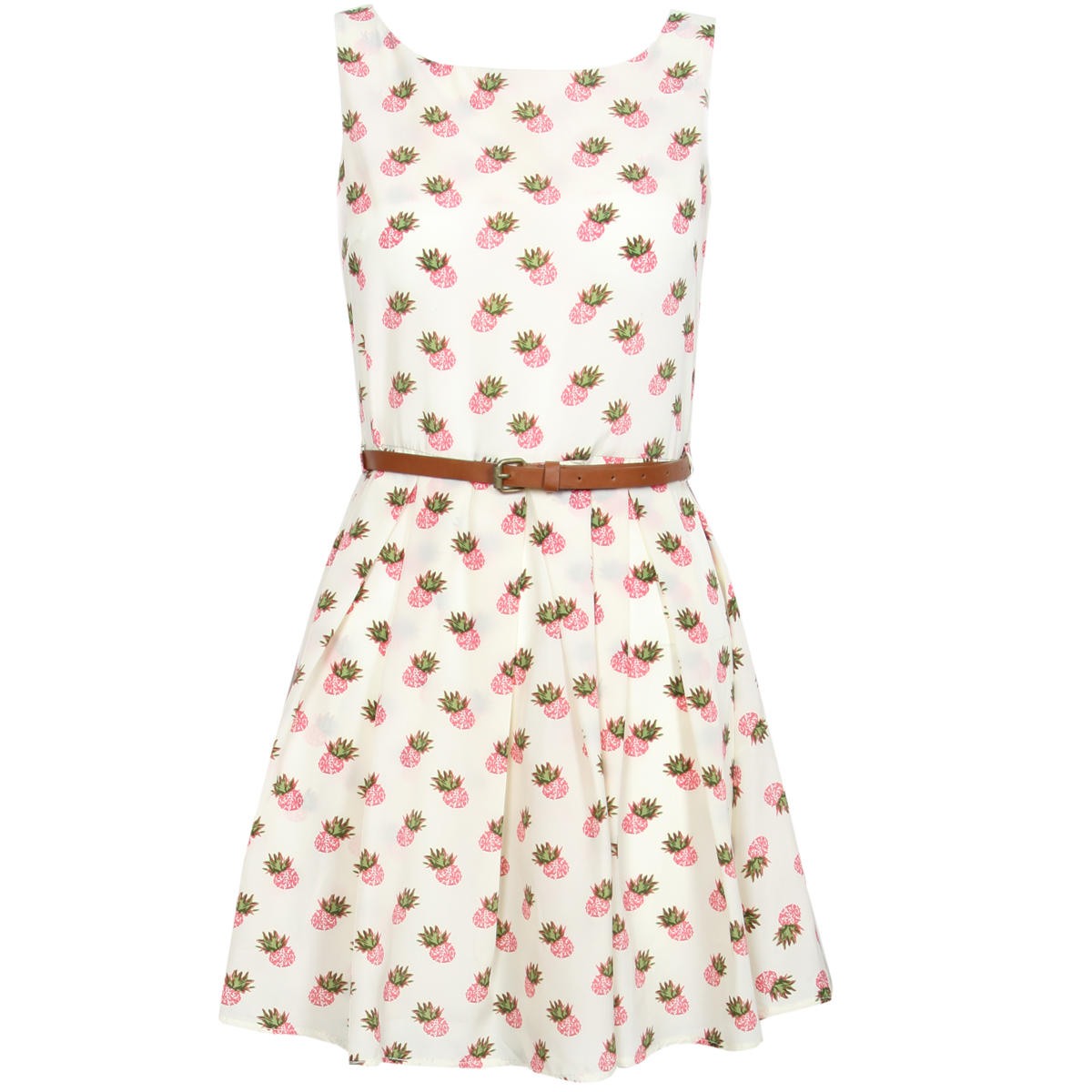 SIZE 10 ONLY Cream Pineapple Print Pleat Dress Preview